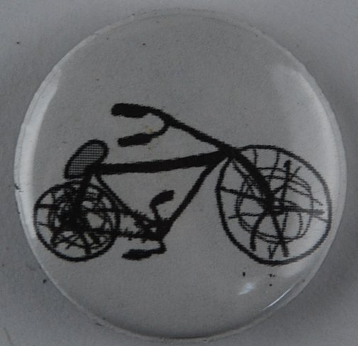 bike pin-back button, bike button