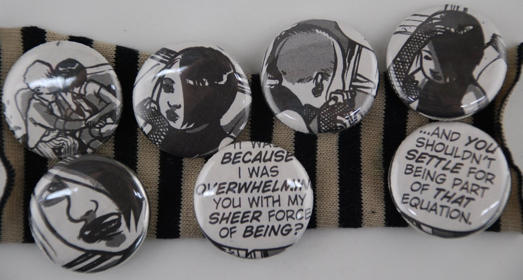 goth pins, comic book pins