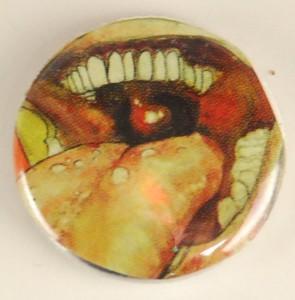 mouth pinback button, mouth pin, body part pin