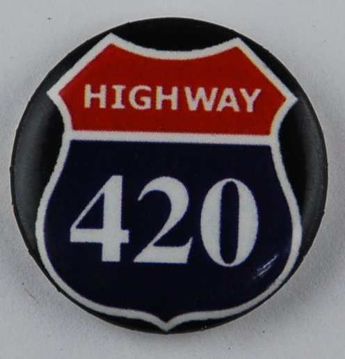marijuana pin-back button, 420 button