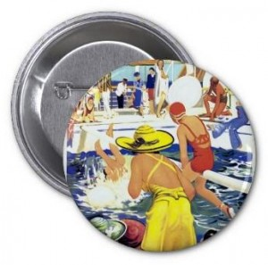 summer button, pool button, swimming button