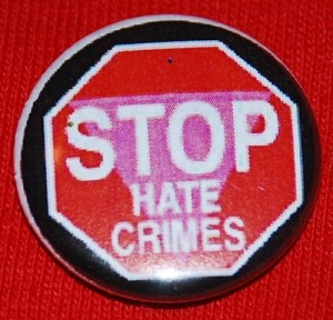 stop hate crime button, lgbt button, lgbt pin-back button, pink triangle, stop sign, political button, political pin-back button